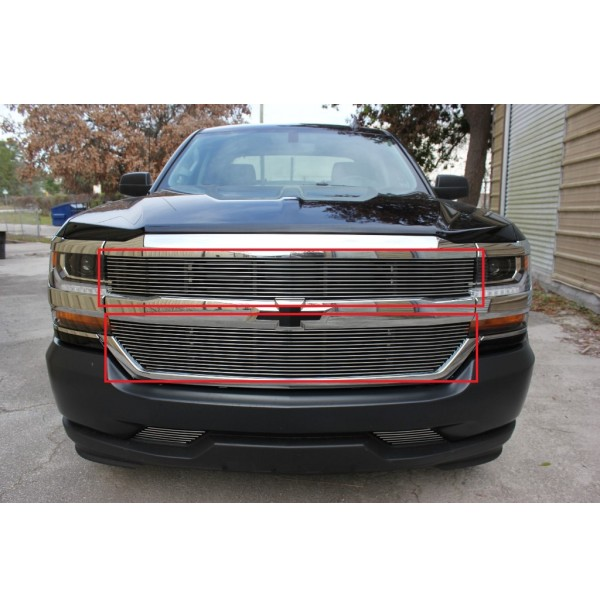 2016 Chevrolet Silverado 1500 2Pc Upper Overlay Billet Grille Kit