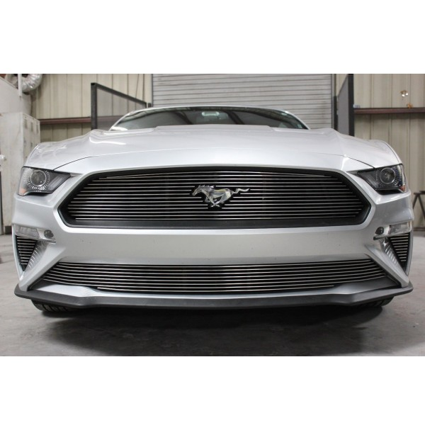 2019 Ford Mustang V6 2Pc Overlay Billet Grille Kit With Pony Cutout