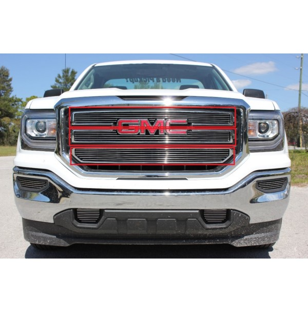 2016 Gmc Sierra 1500 3Pc Upper Overlay Billet Grille Kit