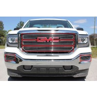 2016 Gmc Sierra 1500 5Pc Upper Inserts & Fog Accent Billet Grille