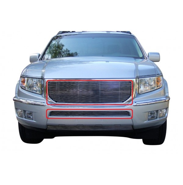 2014 Honda Ridgeline 2Pc Replacement Combo Billet Grille Kit