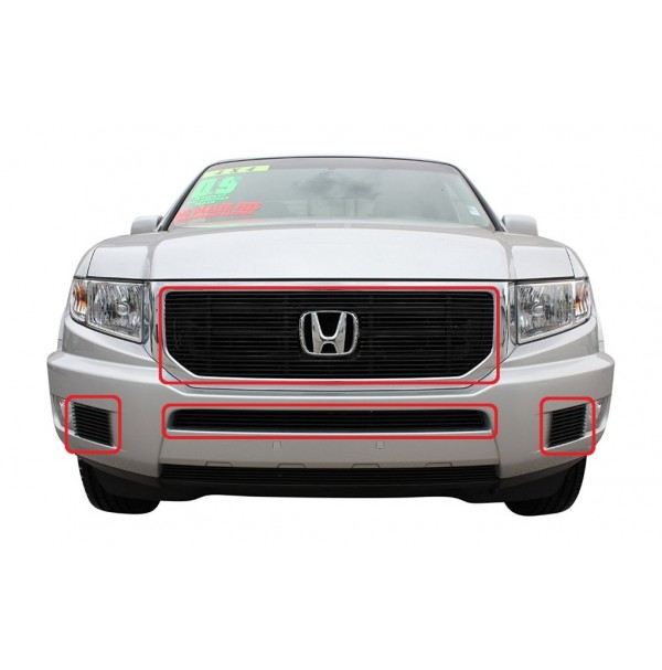 2014 Honda Ridgeline 4Pc Overlay Combo Billet Grille Kit With Cutout