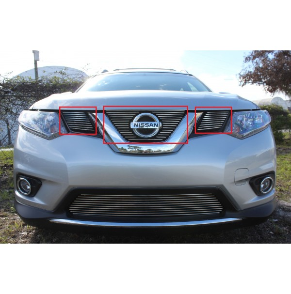 2017 Nissan Rogue 3Pc Upper Insert Billet Grille Kit